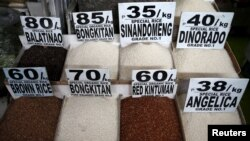 Different rice varieties are pictured at a food stall in the mountain resort of Baguio city in northern Philippines, April 17, 2016. The Philippines, with its PhilRice institute, has expertise and hundreds of strains of rice.