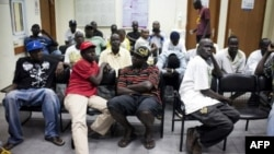 South Sudanese refugees are held at a detention center south of Tel Aviv, Israel, June 11, 2012.
