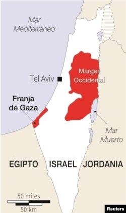 İsrail və Fələstinin xəritəsi