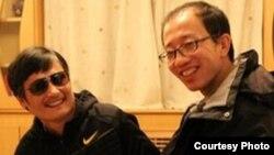 陳光誠與胡佳在北京某地會面時照(資料照片)