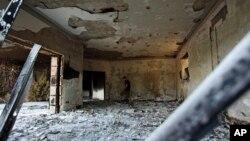 Ðống đổ nát của lãnh sự quán Hoa Kỳ ở Benghazi, Libya, ngày 2/10/2012