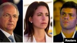 Antonio Ledezma, María Corina Machado y Leopoldo López (en fotos de archivo de 2012) son los firmantes del plan.