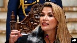 La presidenta interina de Bolivial, Jeanine Anez, durante una conferencia de prensa en La Paz, Bolivia, el viernes, 15 de noviembre de 2019.