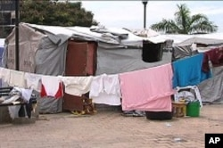 A tent city in downtown Port-au-Prince, Haiti