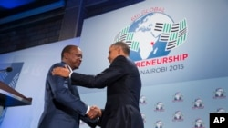 President Barack Obama shakes hands with Kenyan President Uhuru Kenyatta at the Global Entrepreneurship Summit, Nairobi, July 25, 2015.