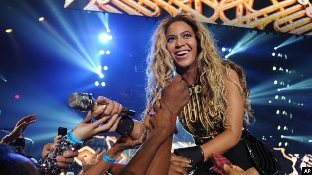 "Singer Beyonce performs during her ""Mrs. Carter Show World Tour 2013"", June 29, 2013, in Las Vegas, Nevada."