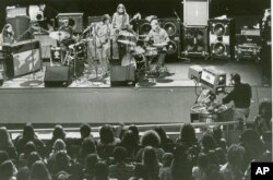 The Allman Brothers band perform in 1972 in front of a television audience.