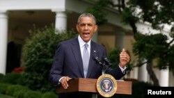ABŞ prezidenti Barak Obama Ağ Evdə bəyanat verir. 21 iyul, 2014.