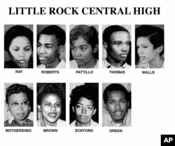Pictured left to right are: Gloria Ray, Terrance Roberts, Melba Pattillo, Jefferson Thomas, Carlotta Walls, Thelma Mothershed, Minnijean Brown, Elizabeth Eckford, and Ernest Green. These are undated photos of the nine students who were barred from attending Little Rock high school.