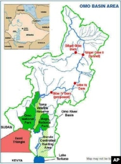 A map of the Omo River Basin in Ethiopia
