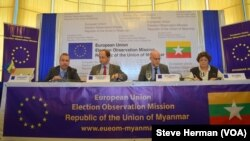 From left, European Union Election Observation Mission members press officer Eberhard Laue, Myanmar chief Alexander Graf Lambsdorff, deputy chief observer Mark Stevens, and head of delegation Ana Gomes speak to reporters in Yangon, Myanmar, Nov. 10, 2015.