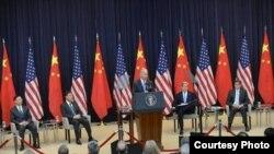 美国副总统拜登7月10日在美中战略与经济对话 会议上讲话(照片来源:美国国务院)