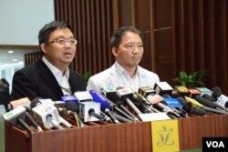 香港民主黨立法會議員涂謹申(左)、胡志偉。(美國之音湯惠芸)