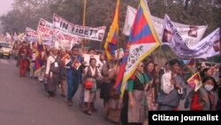More than 7000 Tibetans took part in the march in New Delhi