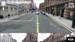 """Foto jalan-jalan dan bangunan di kota Manchester, Inggris ini diperoleh dengan memakai aplikasi """"Street View"""" dari Google."""