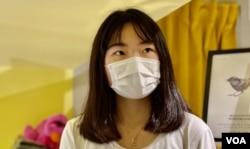 朱慧盈表示,香港人应该共同思考国安法的红线之下,未来的抗争路向 (美国之音/汤惠芸)