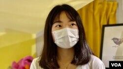 朱慧盈表示,香港人應該共同思考國安法的紅線之下,未來的抗爭路向。(美國之音湯惠芸拍攝)