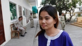 Boeung Kak lake resident Yorm Bopha arrives for a hearing in the Appeal Court in the capital city Phnom Penh November 7, 2012