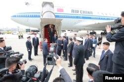 North Korea's leader Kim Jong Un arrives in Singapore June 10, 2018. (KCNA via Reuters)