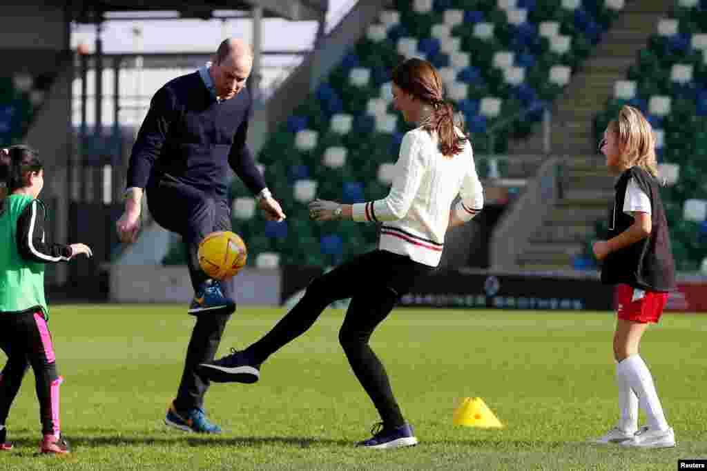 Britain's Prince William and Kate, Duchess of Cambridge, visit the National Stadium Belfast, home of the Irish Football Association, in Belfast, Northern Ireland.