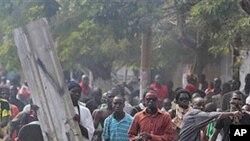 Des Sénégalais protestant contre le projet de modification constitutionnelle le 23 janvier, à Dakar