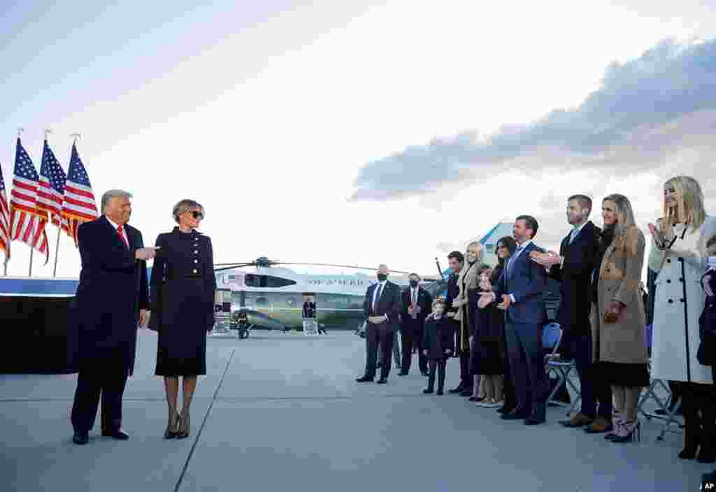 آقای ترمپ صبح چهارشنبه ۲۰ جنوری (اول دلو) در آخرین پرواز با ایرفورس یک –طیارۀ مخصوص رییس جمهور امریکا- واشنگتن دی سی را به قصد ایالت فلوریدا ترک کرد و در مراسم تحلیف جو بایدن شرکت نکرد