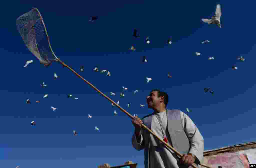 Nasir, a resident of Herat, Afghanistan stands below his pigeons flying from the rooftop of his home.