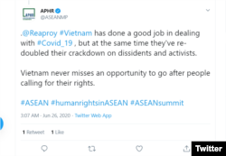APHR viết trên Twitter hôm 26-06-2020 về nhân quyền Việt Nam. Photo APHR via Twitter.