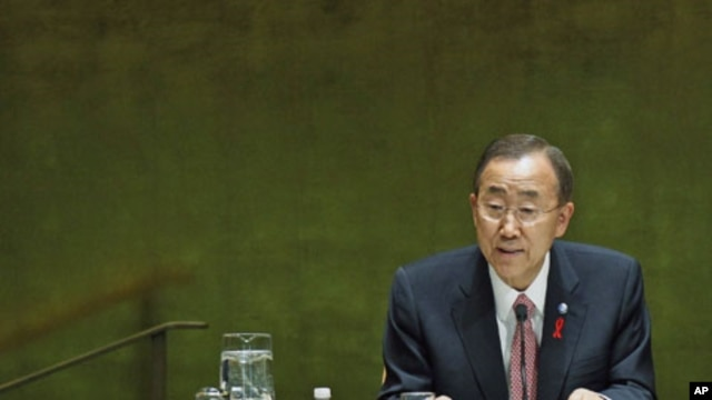 United Nations Secretary General Ban Ki-moon addresses diplomats in the United Nations General Assembly for the 2011 high-level UN conference on the global AIDS response, at UN Headquarters in New York, June 8, 2011