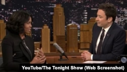 "Michelle Obama joined Jimmy Fallon on ""The Tonight Show"" on Wednesday. She said goodbye to many people who followed her family in the White House."