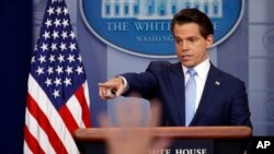 FILE - Anthony Scaramucci speaks to members of the media in the Brady Press Briefing room of the White House in Washington, July 21, 2017.