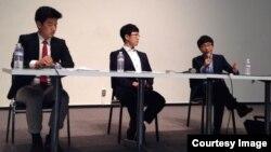 미 서부 캘리포니아 주 스탠포드대학 한인학생회 (KSA)가 지난 16일 북한인권 강연회를 열었다. 강연회에 연사로 초청된 탈북자 이성민 씨(오른쪽)가 발언하고 있다.