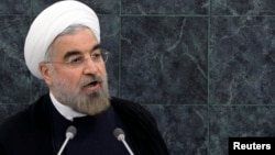 Iran's President Hassan Rouhani addresses the 68th United Nations General Assembly at UN headquarters, Sept. 24, 2013.