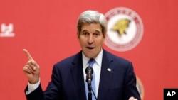 Menlu AS John Kerry menyampaikan sambutan di Korea University, Seoul, Korea Selatan (18/5).