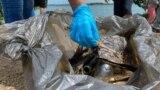 Voluntarios recogen desechos en el lago de Maracaibo, Venezuela, el 23 de octubre de, 2021. [Foto: VOA/Gustavo Ocando]