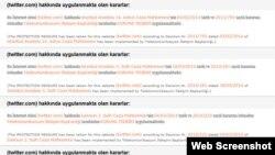 Halaman Twitter jika diakses di Turki, memunculkan pemberitahuan dari pemerintah tentang perintah pengadilan penutupan situs tersebut.