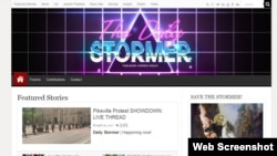 FILE - The home page of The Daily Stormer website from April 2017.