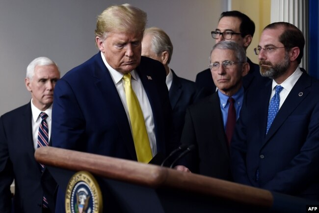 Tổng thống Donald Trump họp báo về kế hoạch đối phó với dịch Covid-19 vào ngày 9/3/2020.