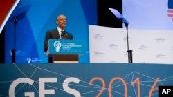 美国总统奥巴马在加州斯坦福大学举行的全球企业家峰会上讲话。(2016年6月24日)