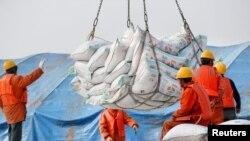 2018年3月22日,中國江蘇省南通港口工人裝卸進口的大豆產品。