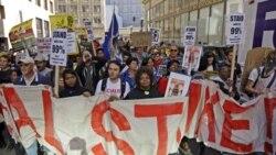 برخورد متفاوت پليس با تظاهرکنندگان در نقاط مختلف آمريکا