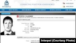 Interpolova poternica za Vladimirom Popovom, za koga Bellingcat veruje da je u stvari potpukovnik ili pukovnik ruske Vojne obaveštajne agencije GRU Vladimir Nikolajevič Moisejev