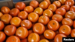 FILE - A box of tangerines is seen at a packaging warehouse of Hoja Redonda plantation in Chincha, Peru, Sept. 3, 2015.