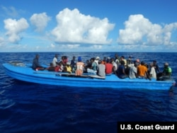 84 Haitian migrants on a 42-foot vessel approximately 30 miles southwest of Turks and Caicos Islands, Oct. 28, 2018. While on routine patrol the cutter Thetis crew located the migrant vessel and embarked all 84 migrants for repatriation to Port-au-Prince,