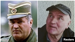 Bosnian Serb army commander General Ratko Mladic in Pale, dated May 7, 1993; and in Belgrade after he was arrested on May 26, 2011.