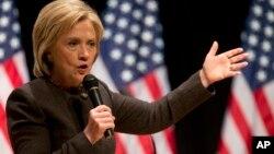 Ứng cử viên tổng thống của đảng Dân chủ Hillary Clinton phát biểu trong một sự kiện của chiến dịch vận động tranh cử ở Des Moines, Iowa.