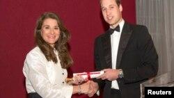 """Hoàng tử William nước Anh công nhận việc làm của bà: """"Cùng với chồng cũng phi thường như bà là ông Bill, bà Melinda thành lập Quỹ Gates để thay đổi thế giới, và bà đã thay đổi cuộc sống của phụ nữ, người nghèo, người đau ốm và những người bất hạnh tại châu Phi và các nơi khác."""""""