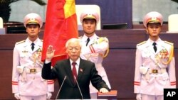 Vietnam's Communist Party General Secretary Nguyen Phu Trong is sworn in as the country's president in Hanoi, Vietnam, Oct. 23, 2018.