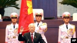 FILE - Vietnam's Communist Party General Secretary Nguyen Phu Trong is sworn in as the country's president in Hanoi, Vietnam, Oct. 23, 2018.
