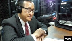 Mr. Sam Rainsy talks on VOA Khmer's Hello VOA radio call-in show, Thursday, July 24, 2014, two days after his party reached an agreement with the ruling Cambodian People's Party to end a yearlong political deadlock.